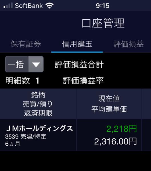 3539 - (株)JMホールディングス ドテン売りで…