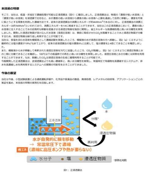 6502 - (株)東芝 【東芝】消費エネルギーを1/4に削減し、常温常圧で濃縮率を2.4倍向上できる濃縮技術を開発