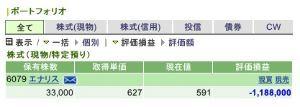 6079 - (株)エナリス 昨日、今日と2日間で日経が1660円も下落する中、しっかり握っておきました。 先週に月曜から含み益に
