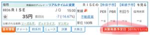 8836 - (株)RISE 明日は待ちに待った、超絶激アツ決算発表やね www