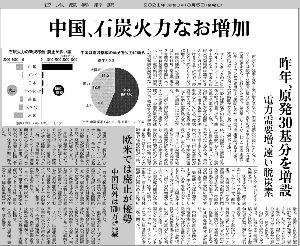 5741 - (株)UACJ 今日の日経朝刊。 中国が、増加する電力需要に、止むを得ず石炭火力発電所を増設しているという記事。 こ