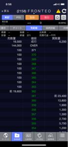 2158 - (株)FRONTEO 各価格に悪意のある100株の売板。