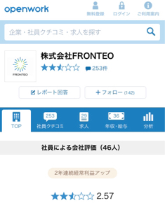 2158 - (株)FRONTEO オープンワークの口コミ散々だな