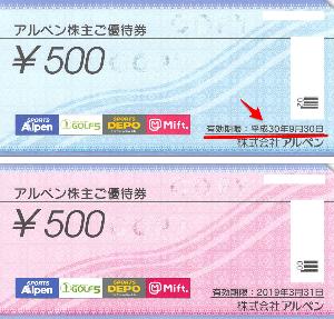 3028 - (株)アルペン 株主優待券は、前回の2,000円分と、前々回の2,000円分を取ってある。 今月末に届く2,000円