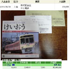 9008 - 京王電鉄(株) 年間の配当金としては63万円になりますが、本日は期末配当金として30万円(税引後239,055円)が