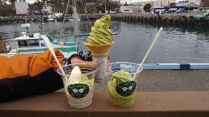 関東 バイク乗りの写真館 ( ´∀` )b 追加、 寒くても、なぜか食べたくなる ソフトクリーム🍦、今回は 抹茶ソフトクリームです。 A.har