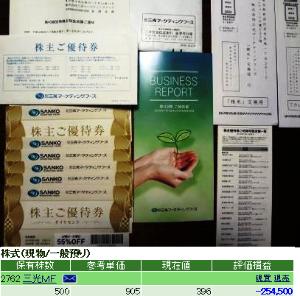 2762 - (株)三光マーケティングフーズ 改悪後2回目の優待券は先月28日に届いています。 前回同様お米5キロに引き換えます。  評価損25万