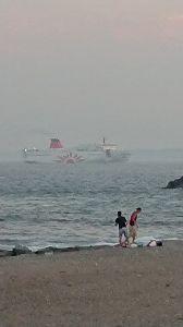 朝靄の中で。。。 夕日を見に海岸へ…沈んでた。  代わりにサンフラワー! あれに乗ればホッカイロー