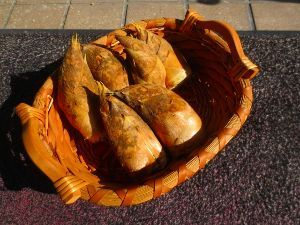 居酒屋♪ 昨日 隣の町から お手伝いに来てくれる おばちゃんの竹山で タケノコが イヌシシの食べ残りが 掘れて