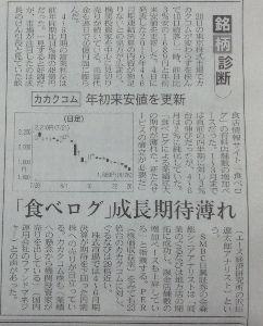 2193 - クックパッド(株) カカクコムの成長に陰り  穐田さんの騒動と時を同じくして  偶然か?