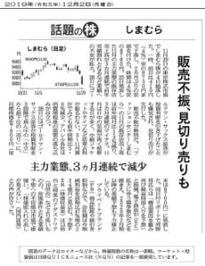 8227 - (株)しまむら NK夕刊の話題の株でしまむー取り上げられてますね  販売不振、見切り売りも  だって。