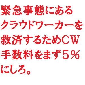 3900 - (株)クラウドワークス ★緊急事態宣言★  CWはワーカーの敵!  手数料を20%から、まず5%にしろ!  お前らは、ボッタ