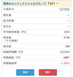 7321 - (株)関西みらいフィナンシャルグループ マネックスで、みなと銀行100株保有ですが、 今日から237株で893円に変わってました。 最終的上