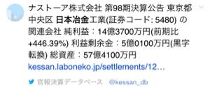 5480 - 日本冶金工業(株) 優秀な子会社ナストーア  いいぞ、いいぞ〜  ^_^