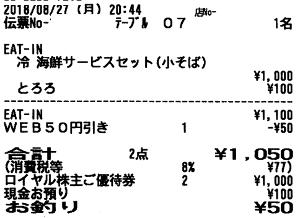 8179 - ロイヤルホールディングス(株) また「天丼てんや」。 優待券2枚(1,000円分)使いたいから、店ではいつも、「丼(小盛り)+グラス