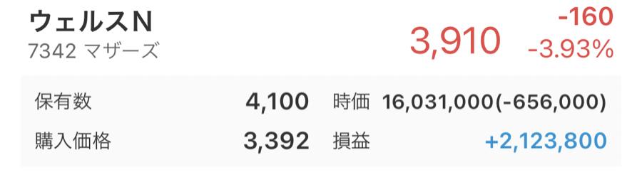7342 - ウェルスナビ(株) 4,100株になりました👍