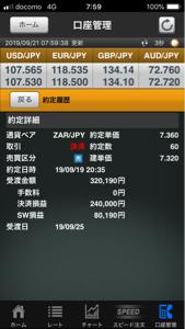 zarjpy - 南アフリカ ランド / 日本 円 まさか7.5も触れずにこんなに下がるとは 7.36で利確しといたのは運が良かった・・・ 40万ほどや