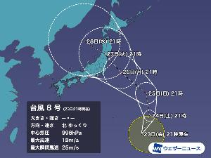 8256 - (株)プロルート丸光 台風8号(ニパルタック)発生 来週27日(火)頃に本州接近のおそれ 五輪競技に影響も 7/23(金)