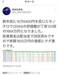 3064 - (株)MonotaRO 数年前に16万6400円を投じたモノタロウ(3064)の評価額が丁度100倍の1664万円となりまし