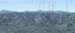 六甲山 いつも最高峰で気になります北側の山々。 先日は有馬富士を認識しました。 家でカシミールで表示すると