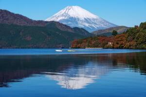 ひとりで飲む酒はうまい こちら芦ノ湖です。  気温は-1℃。  背後には富士山-信仰の対象と芸術の源泉-(文化遺産)がきれい