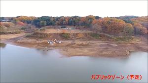 8789 - フィンテック グローバル(株) 11月30日 ドローン撮影 パブリックゾーンに機材が… 水位激減、着工間近かな?