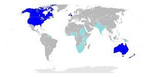 英語支配に関する討論 The English-speaking world. Countries in dark blue