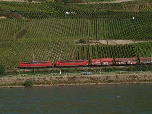 OLYMPUS OM SERIES (いつもの風景) たぶん。ライン川沿いのブドウ畑の川岸を走行の貨物列車。alto*****