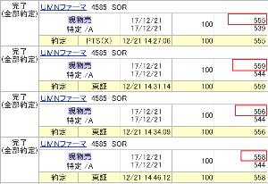 4585 - (株)UMNファーマ    さらに、昨日の場中に売ったものも、安値で買い戻さないといけません。    555円 で売りまし