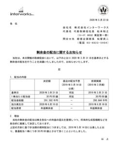6032 - (株)インターワークス 1株当たり30円。悪くないだろう。