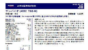 4592 - サンバイオ(株) みずほ証券は1420円です。  みずほの目標株価が低いのは、カタリスト待ちだからのようですよ。