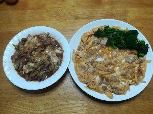 ★☆★☆★愛 こんばんは 午前中雨 午後は雨も上がりましだが 寒い一日でした 晩御飯は 回鍋肉風と親子丼の具 明日
