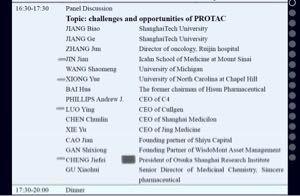 2160 ‐(株)ジーエヌアイグループ 上海で開催されたPROTAC研究会について  当日のディスカッションのメンバーにCullgenから3