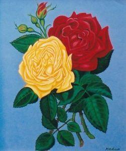 お暇な時間にどうぞ~♪ 私が描いた「バラの花」です。