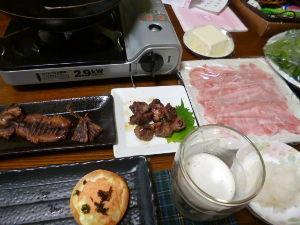 ももの家の晩御飯(´∀`) 5日メニュー  (食べかけ) しゃぶしゃぶ 砂肝炒め イカ焼き おつまみミニピザ