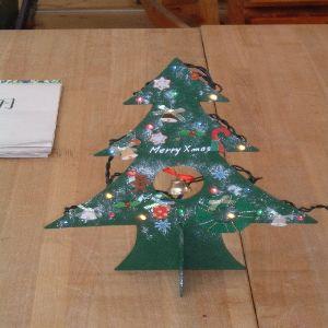夏休み限定親子木工教室 どこにもないオリジナルな作品です。 100均のクリスマスグッヅで材料を揃えました。数作れば1つ500