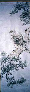 3224 - (株)ゼネラル・オイスター 守り神の鷹の水墨画です。 孔明を退治してまいります。(笑)