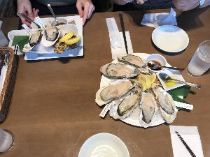 3063 - (株)ジェイグループホールディングス 静岡駅 の パルコだっけ❓  優待でオイスターバ 初めて行ったが 牡蠣 1個500円  貧乏年金爺い
