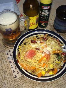 Myレストラン『改』 (^ω^)夏にピッタリ 夏野菜パスタ〜!  フレンチドレッシングにレモンを絞って、そこに
