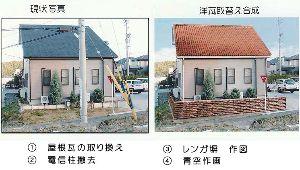 フオトコラージュや画像加工、合成写真の勉強部屋 屋根瓦の取り換えや電信柱の撤去、更にレンガ塀を設置し青空にしました。  合成とフオトコラージュで仕上