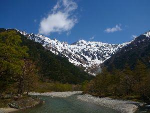 山に登ろう  上高地に ニリンソウの花畑を見に ハイキング 穂高岳もまだ雪が残っているし つい見とれてしまいまし