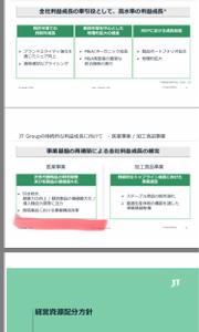4551 - 鳥居薬品(株) 昨日のJTの経営計画2019より!