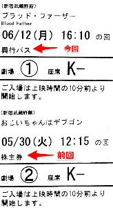 9635 - 武蔵野興業(株) 株主優待証を使った時の半券の表示が、「株主券」から「興行パス」 に変更になっていた。 まあたいした話