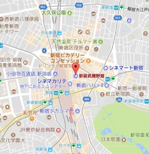 9635 - 武蔵野興業(株) 新宿武蔵野館のビルの「地下1階」が、新宿駅東口駅と繋がっていて便利。 東口改札を出た後、右側の「新宿