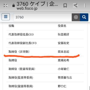 3760 - (株)ケイブ 取締役でも1番上に記載されてますね  これ見て安値で売る人がいるのに驚きです😯