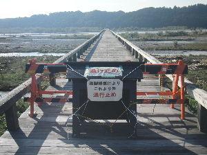 大井川マラソン初挑戦 先日の25号台風の大水で橋げたが傾き通行禁止になってます、開通には相当掛かると思います。 リバティの