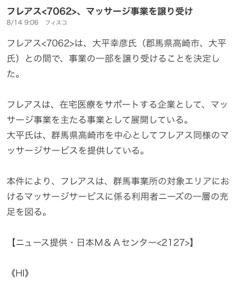 7062 - (株)フレアス フレアス マッサージ事業譲渡