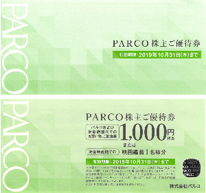 8251 - (株)パルコ 【 株主優待 到着 】 (年2回) 100株 1,000円分優待券2枚 他。 ※ようやく、「3年以上
