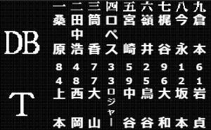 NEW阪神タイガースペナントレース・トピ 先発  1番 上本 2番 西岡 3番 大山 4番 ロジャーズ 5番 中谷 6番 鳥谷 7番 大和 8