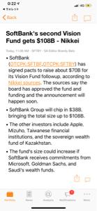 9984 - ソフトバンクグループ(株)  >第二ビジョンファンドは12兆円になる見込み。 >日経電子版の記事が出ています。  M